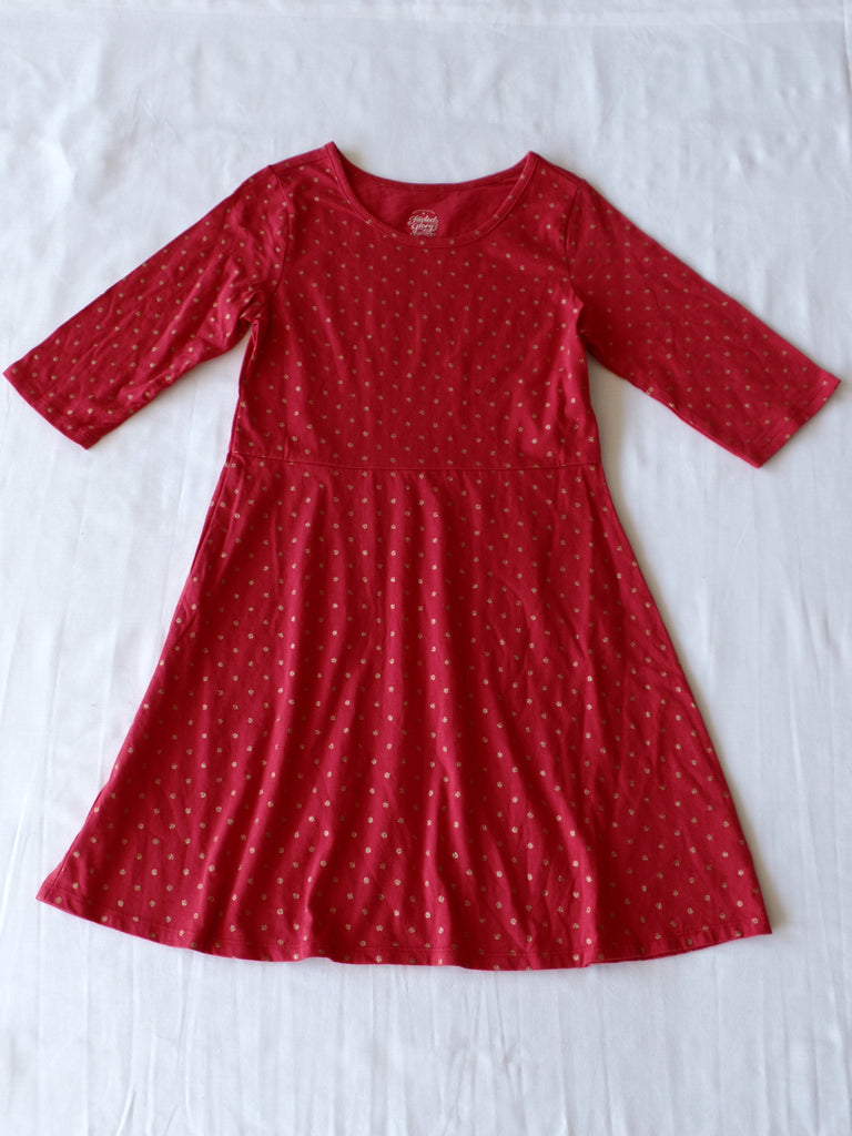 Girls FG Fit and Flare Dress 3-Quarter Sleeve - 100% Cotton: Size L 10-12