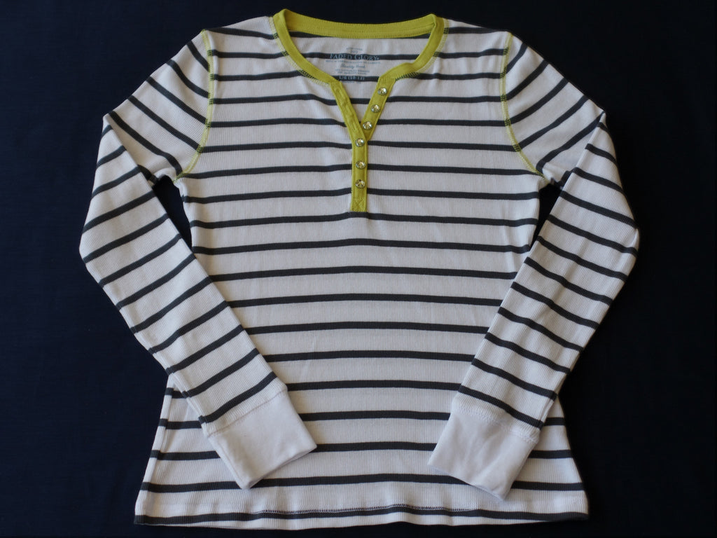 Girls FG L/S Henley Stripe Top (3 buttons front) 95% Cotton, 5% Spandex: Sizes XS, M, L, XL