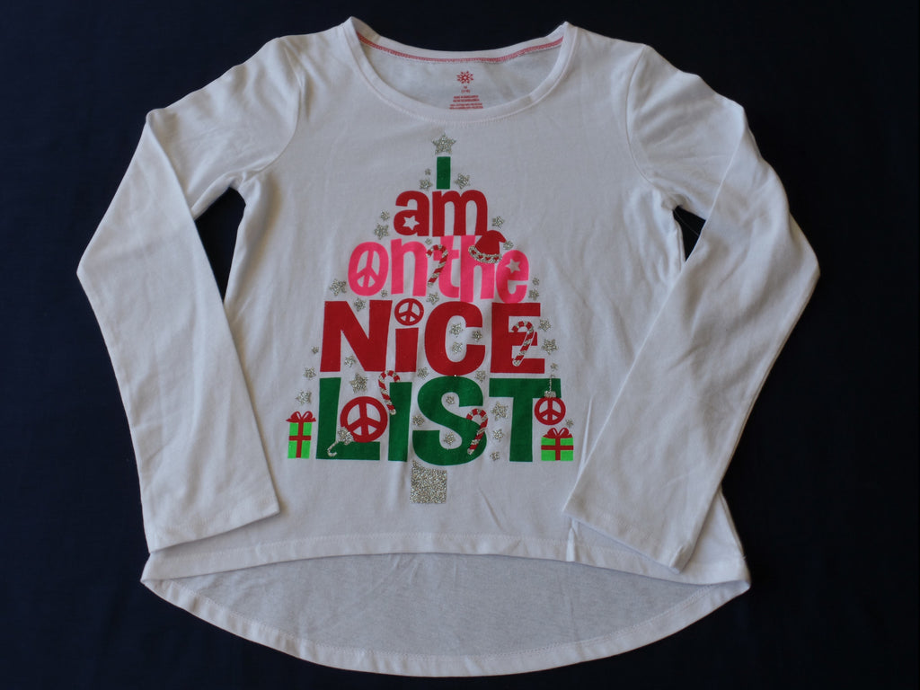 Christmas L/S Screen Tee - 60% Cotton, 40% Polyester: Size M 7-8