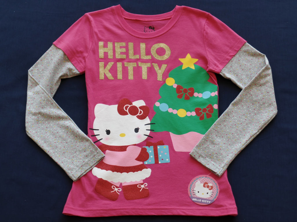 Christmas Hello Kitty L/S Graphic Tee (100% Cotton): Sizes XS 4-5; L 10-12