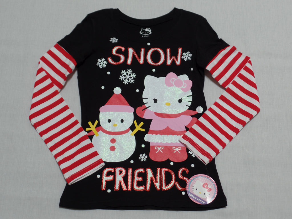 Christmas Hello Kitty L/S Graphic Tee (100% Cotton): Sizes S 6/6X;  L 10-12