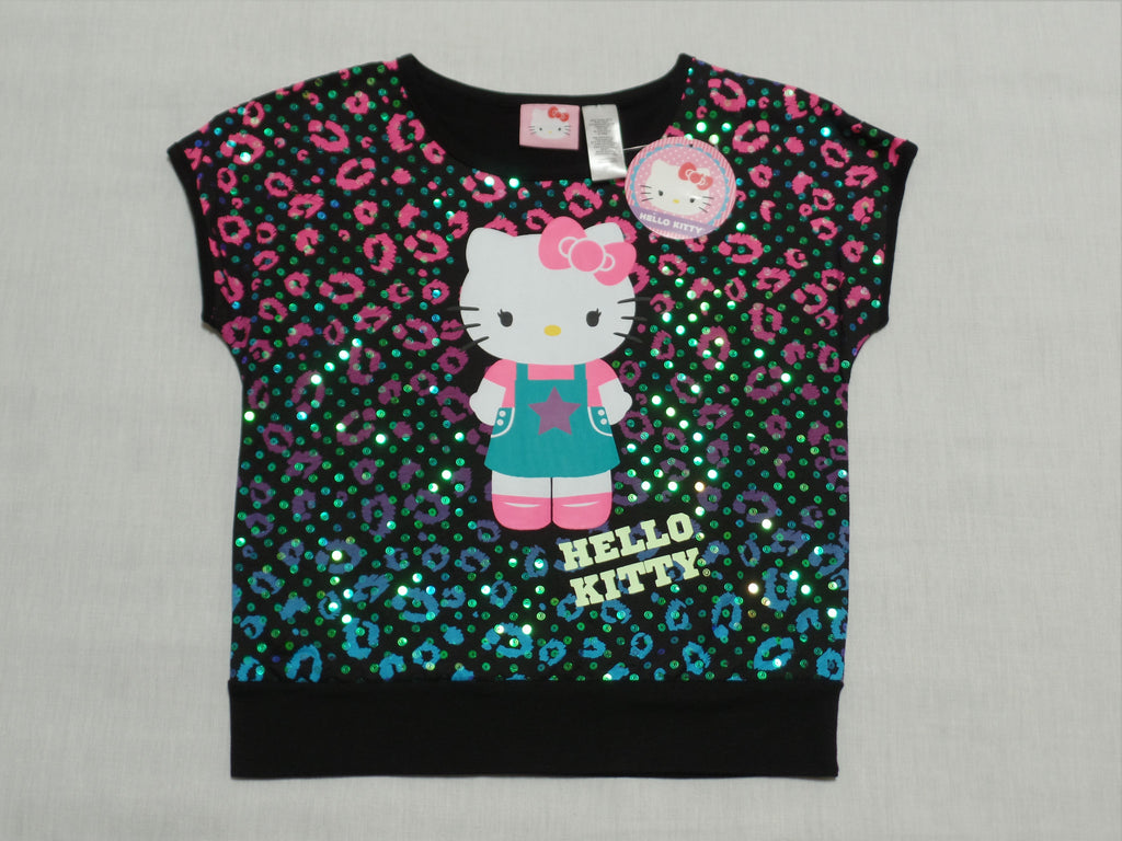 c9308a8be L 10-12 Girls Hello Kitty Top with Sequin - 100% Cotton - Black Soot – Ship  To Island