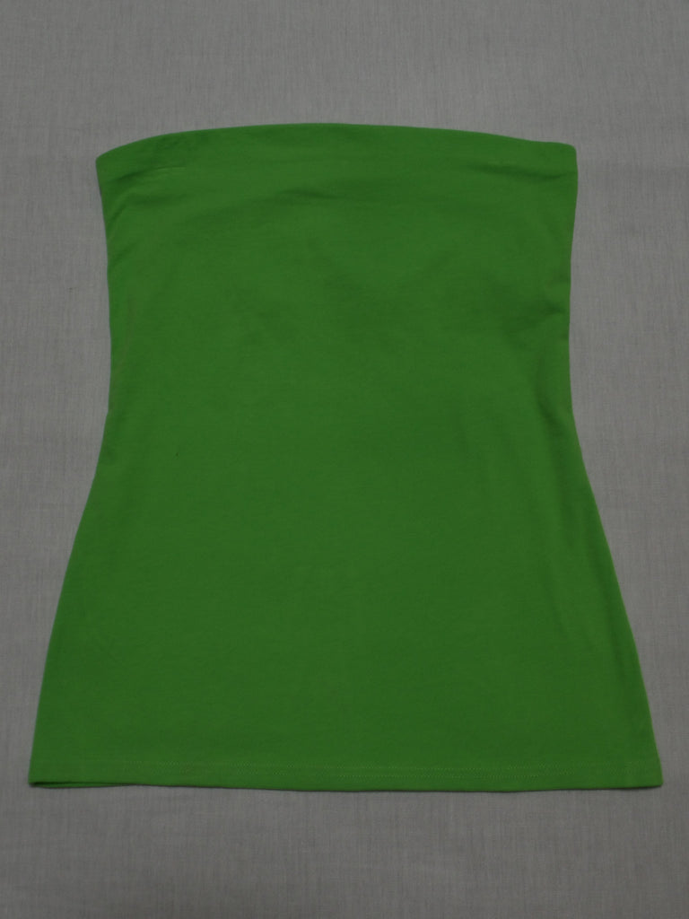 NB Green Tube Top - 95% Cotton, 5% Spandex: Size M 7-9 /L 11-13