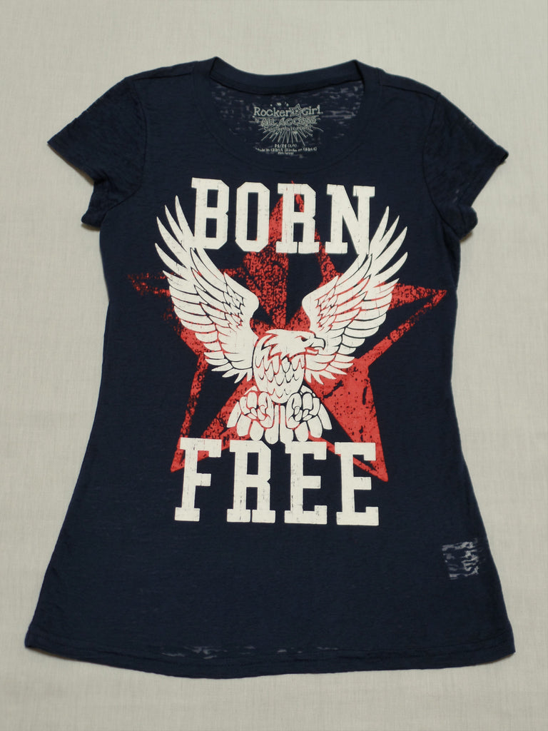 Juniors Rocker Girl Tee (Born Free) - 53% Cotton, 47% Polyester: Size M 7-9