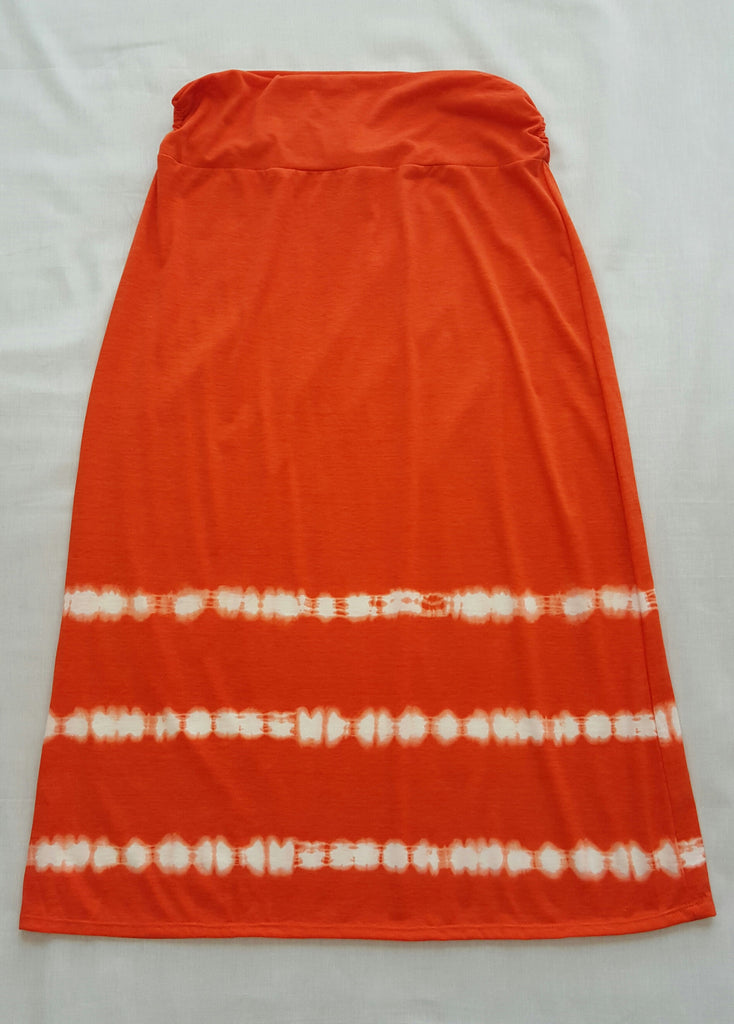Orange Print Maxi Skirt - 96% Polyester, 4% Spandex: Sizes L, XL