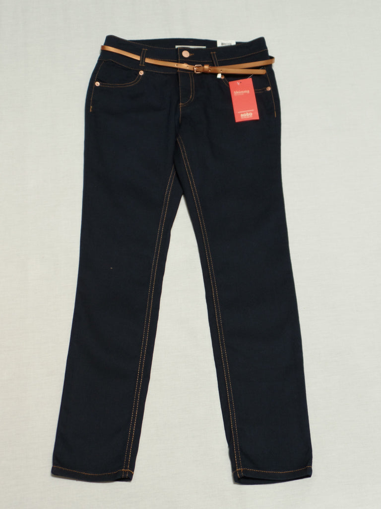 Junior NB Skinny Belted Jeans (Long) 65% Cotton, 33% Polyester, 2% Spandex: Size 9