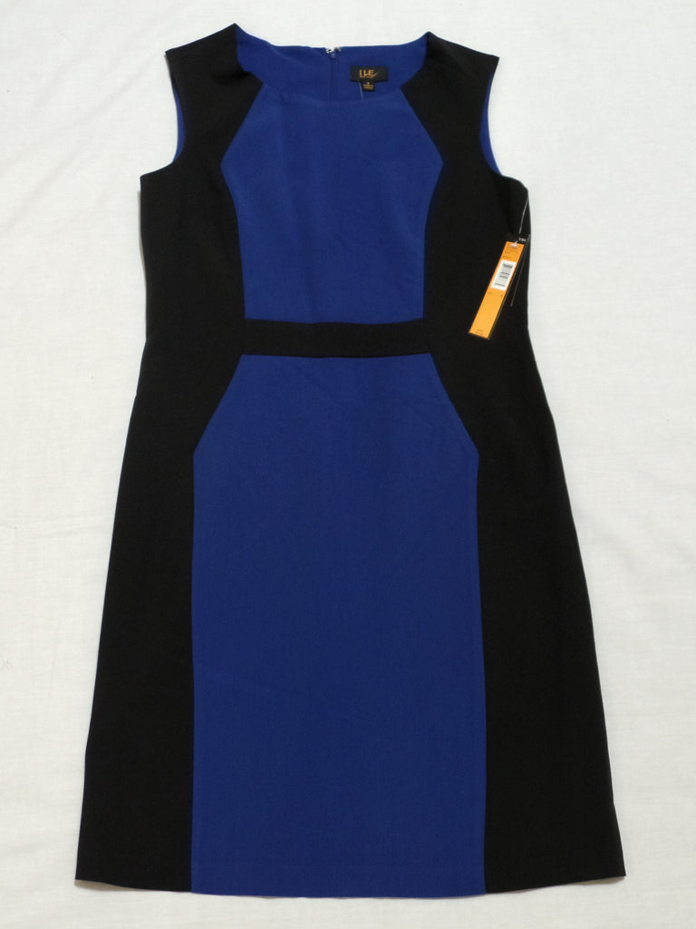 Royal and Black S/L Dress - 88% Polyester, 9% Rayon, 3% Spandex: Size 8