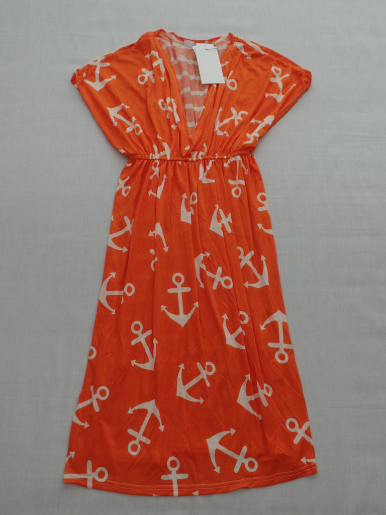 5th & Love Orange and White Dress - 95% Polyester 5% Spandex: Size XL