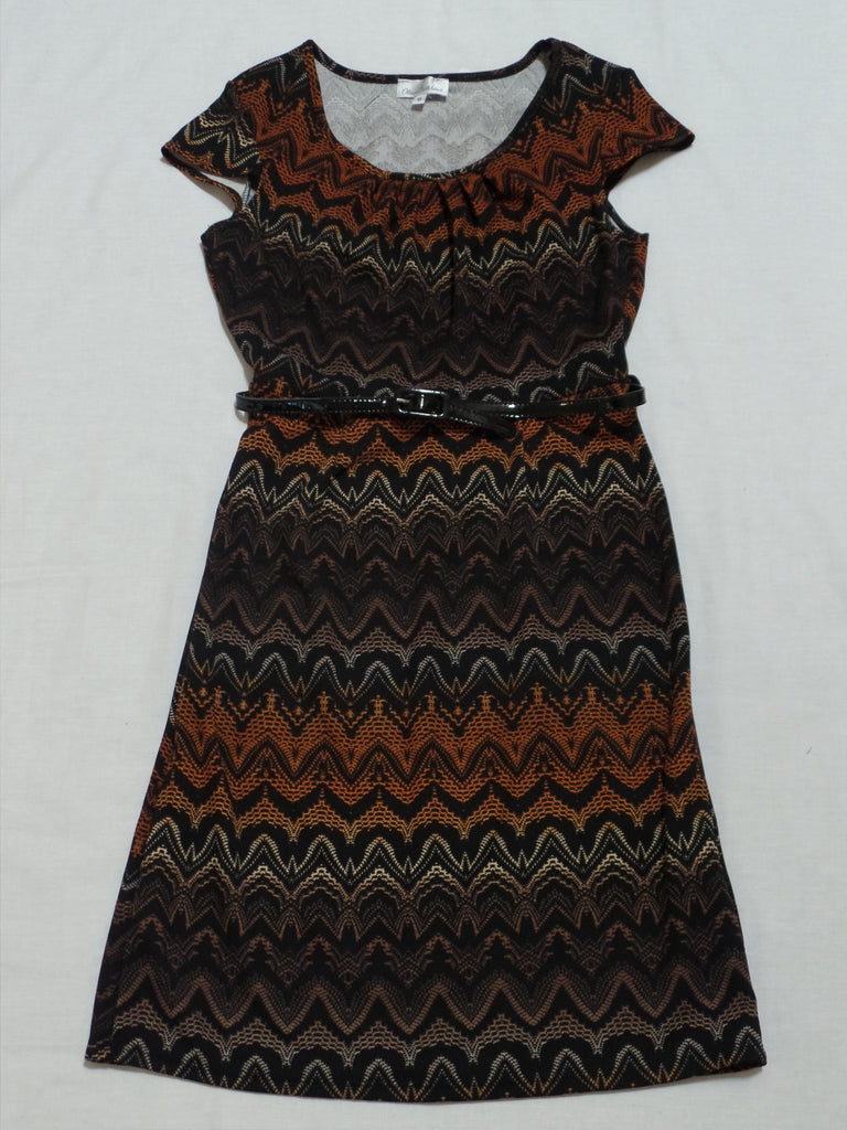 Olivia Matthews S/S Dress with Belt - 97% Polyester 3% Spandex: Size 8