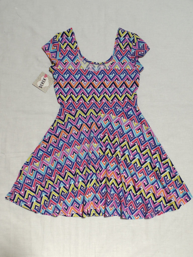 Derek Junior Colorful Dress - 95% Cotton, 5% Spandex: Sizes M, L
