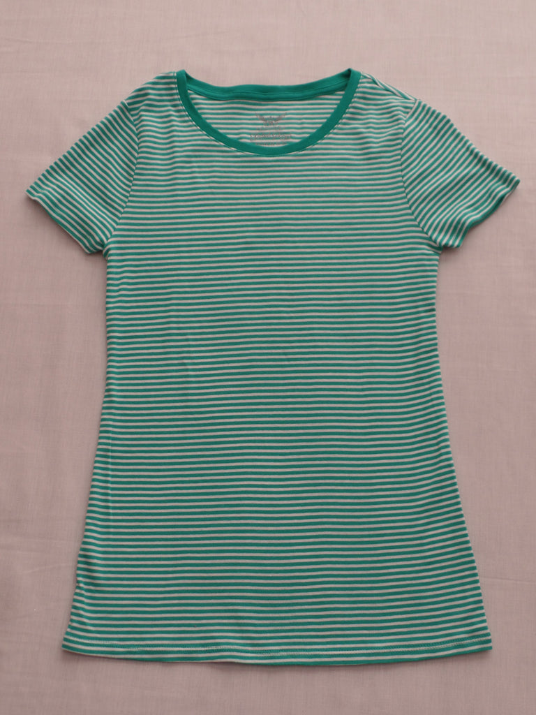 FG S/S Crew Neck Green Stripped Tee - 100% Cotton: Size XS 0-2