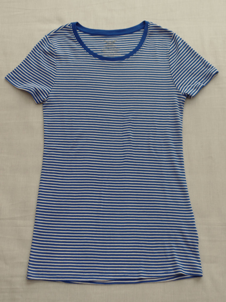FG S/S Crew Neck Blue Stripped Tee - 100% Cotton: Sizes XS, S, XXL