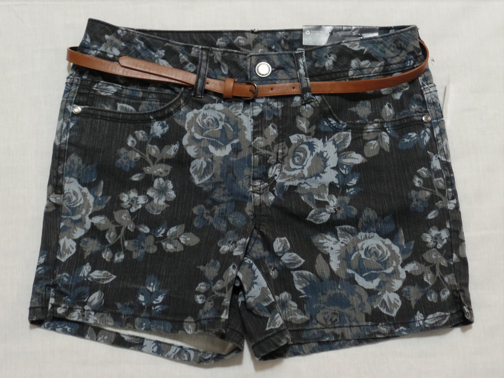 FG Belted Floral Shorts - 77% Cotton, 22% Polyester, 1% Spandex: Size 8