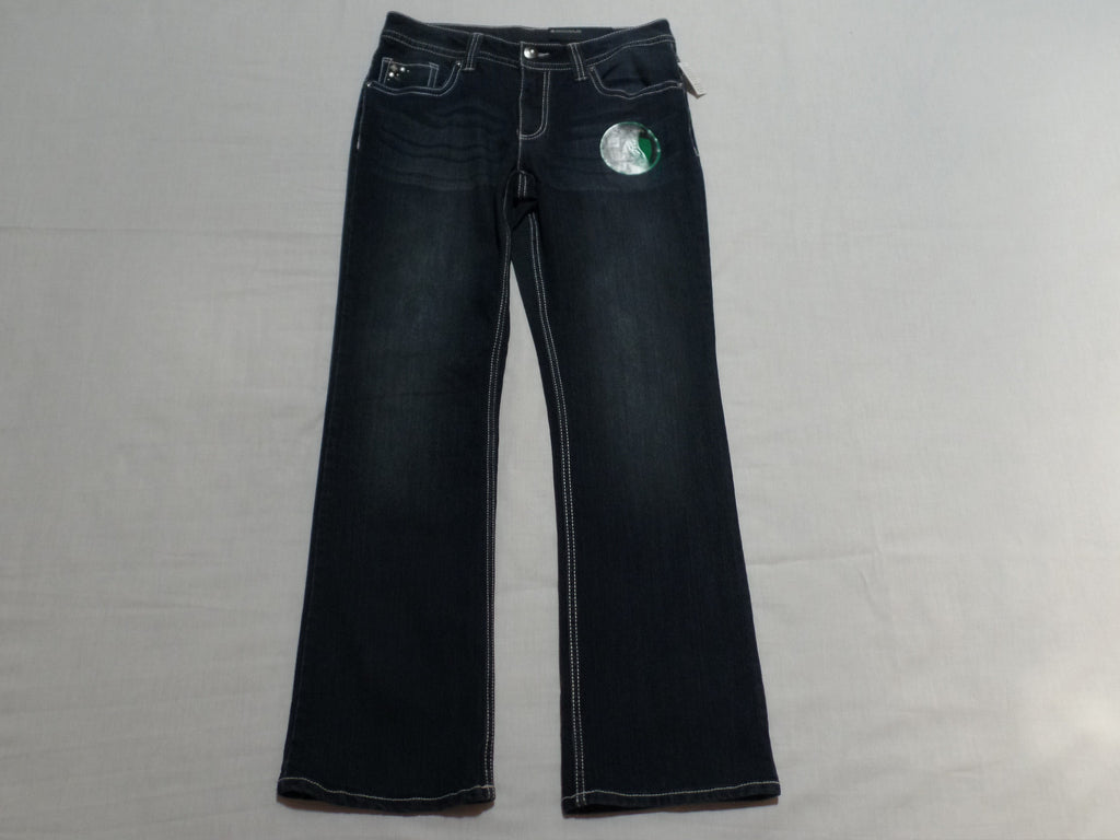 FG Mid Rise Slim Boot Cut Bling Jeans - 69% Cotton, 30% Polyester, 1% Spandex: Size 12A