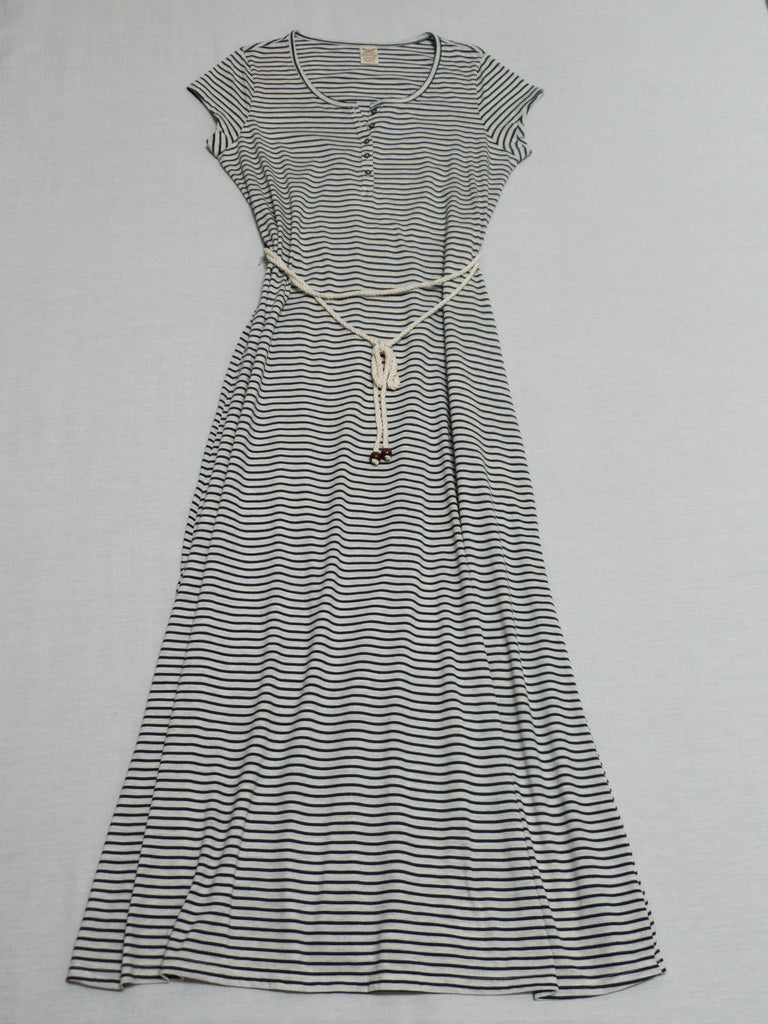 Stripe Maxi Dress with Rope Belt  - 60% Cotton, 40% Polyester: Size M, L, XL