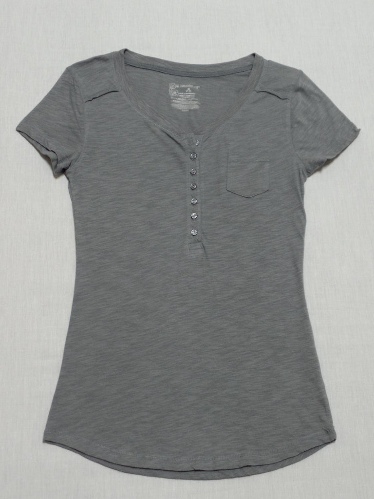 NB Henley Tee - Front Buttons (Small Pocket) 100% Cotton: S 3-5 /M 7-9