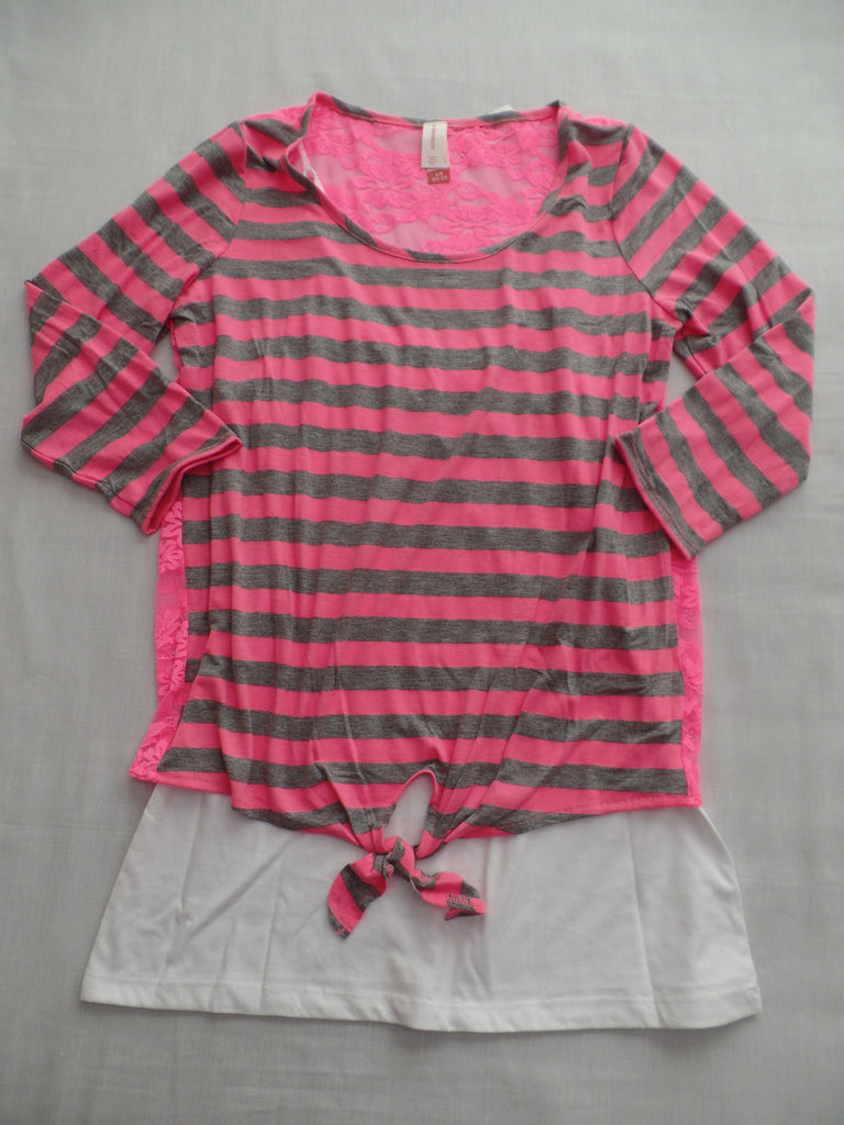Juniors Lace Back Stripe 2Fer Top - 47% Poly,47% Rayon, 6% Spandex: Sizes L, XL, XXL