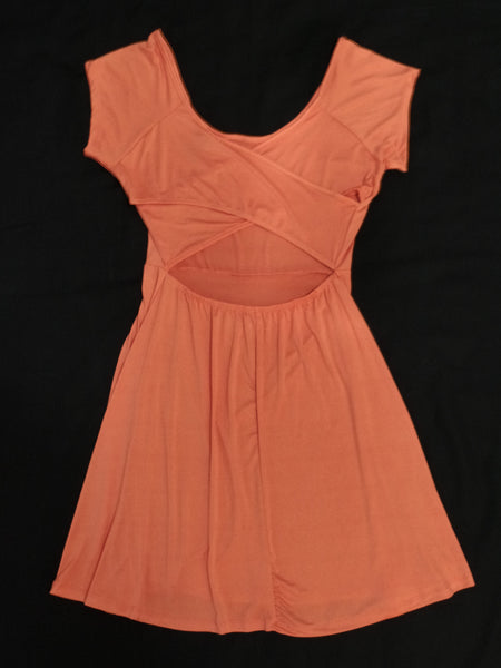 Rue 21 Peach S/S Skater Back Dress -95% Polyester, 5% Spandex: Sizes L, XL
