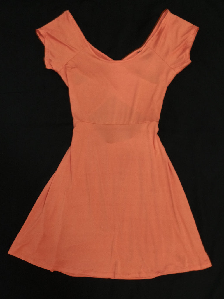 Rue 21 Coral S/S Skater Back Dress - 95% Polyester, 5% Spandex: Sizes L, XL