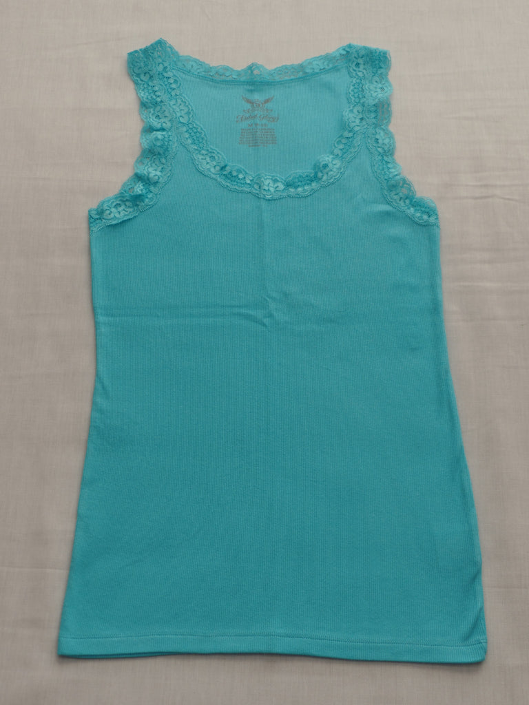 FG Clean Blue Lace Rib Tank  -  94% Cotton, 6% Spandex: Sizes M, L, XL