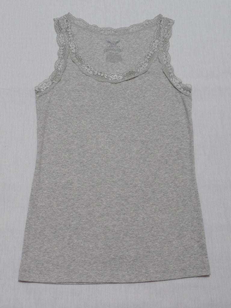 FG Light Heather Lace Rib Tank  -  94% Cotton, 6% Spandex: Sizes XS, S, M, L, XL, XXL