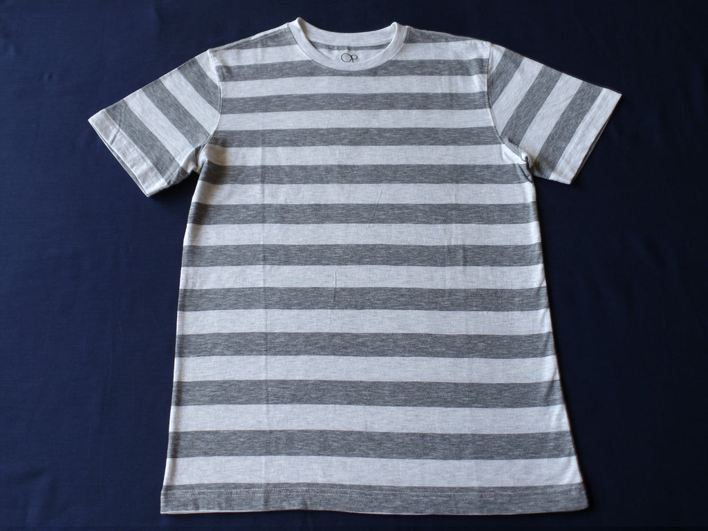 Mens OP S/S Stripe Crew Neck Tee - 60% Cotton, 40% Polyester: Size S 34/36