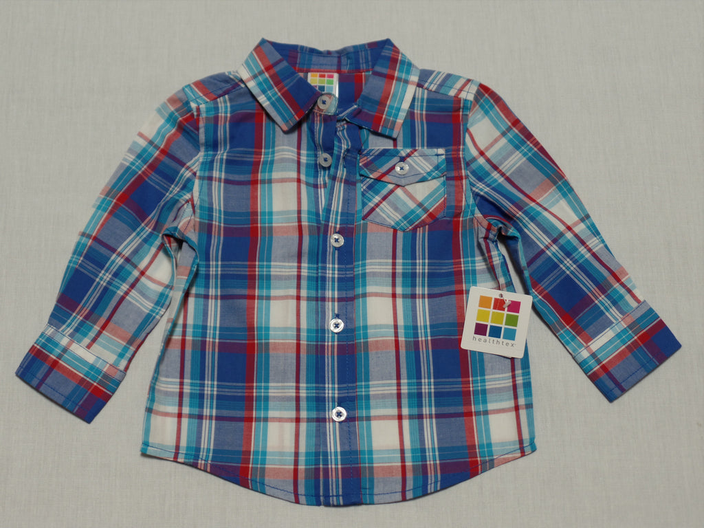 Boys Long Sleeve Woven Top - 100% Cotton: Sizes 12M,18M, 24M