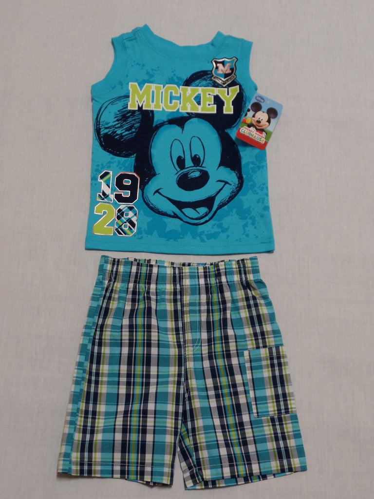 Boys Mickey Tank Plaid Short Set - 100% Cotton: Sizes - 18M, 24 M