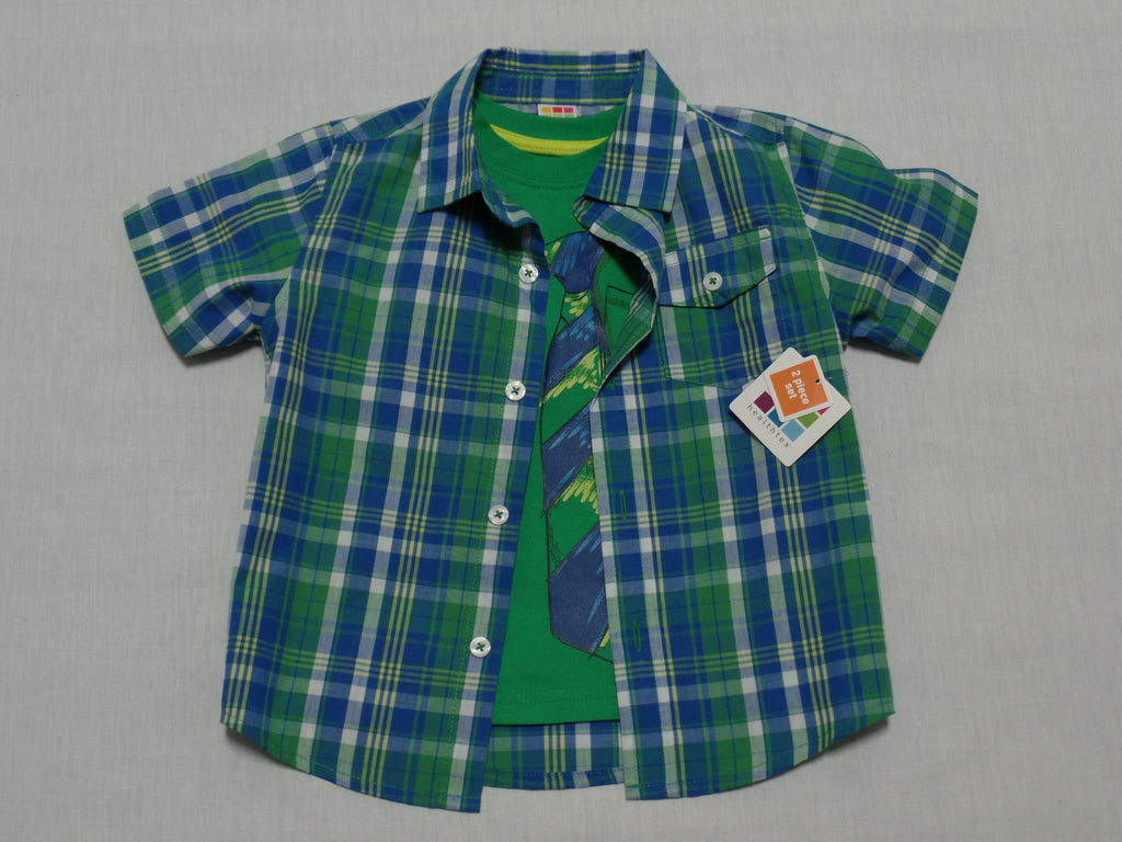 Boys 2 Piece S/S Shirt - 60% Cotton, 40% Polyester: Sizes 24M, 3T