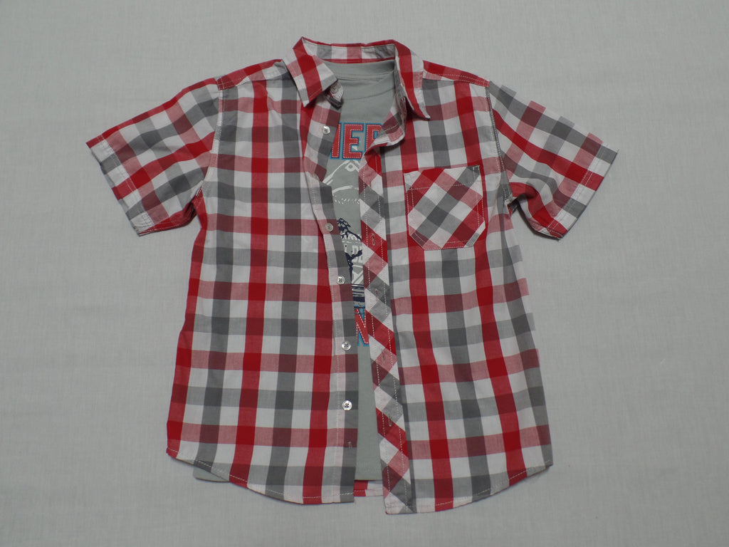 Boys S/S Woven Shirts (3 Looks/2 Shirts): Size L 10-12