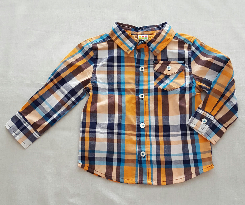 Boys Long Sleeve Shirt (front buttons) - Size 18M
