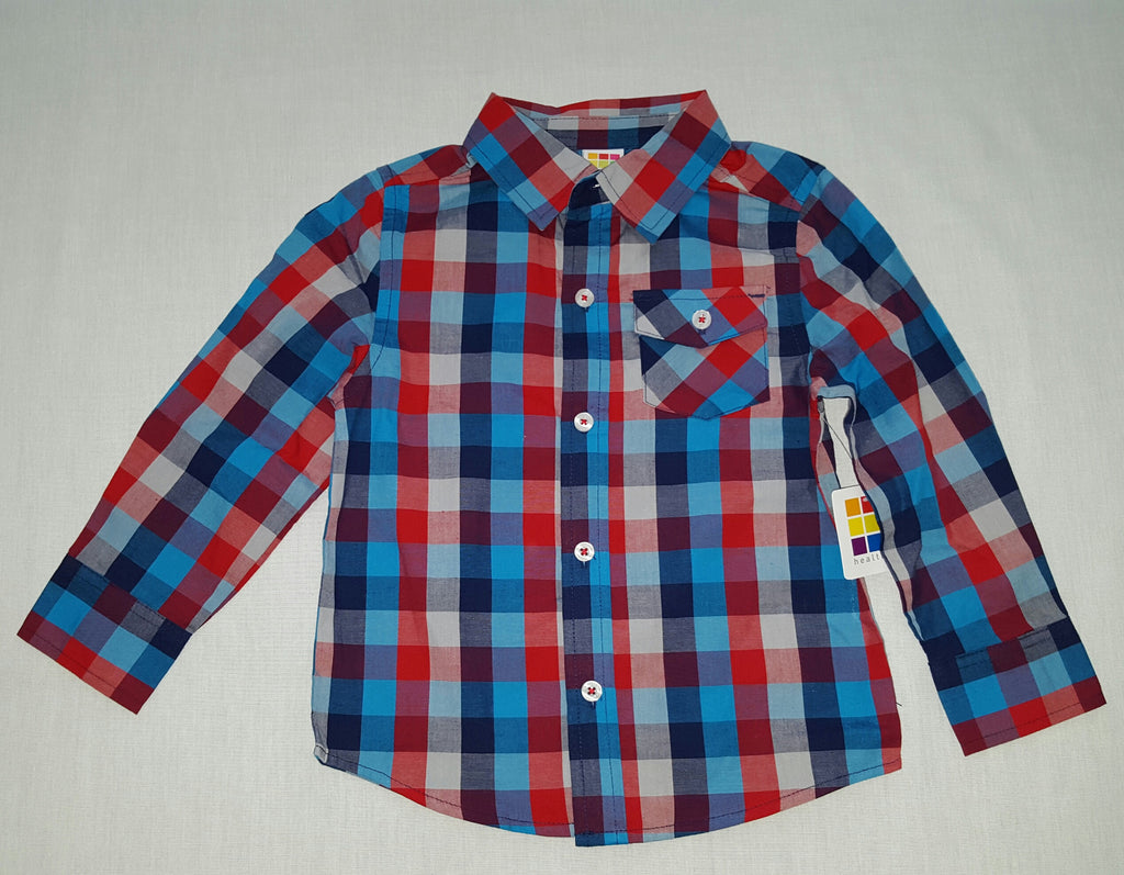 Boys Long Sleeve Shirt (Checkered) - Sizes 18M, 24M, 3T, 4T