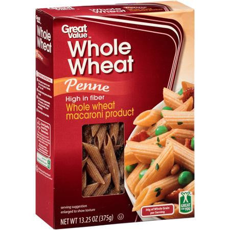 Great Value Whole Wheat Penne Pasta, 13.25 oz