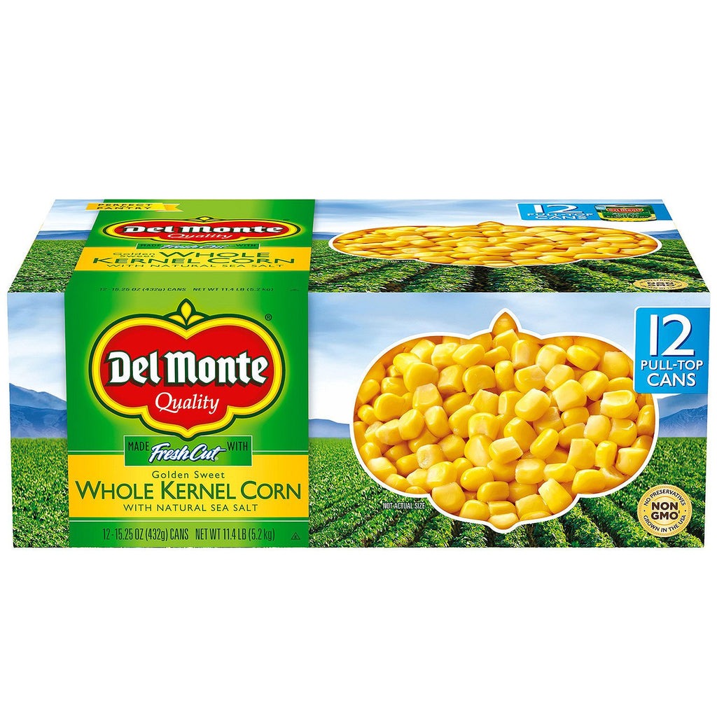 Del Monte Golden Sweet Whole Kernel Corn - 15.25 oz. cans (Single or 12 Pack)