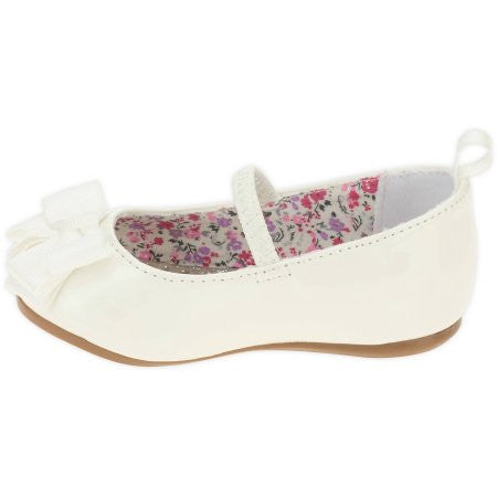 Girls HT Dress Bow Flat - White  (Sizes: 5 and 10)