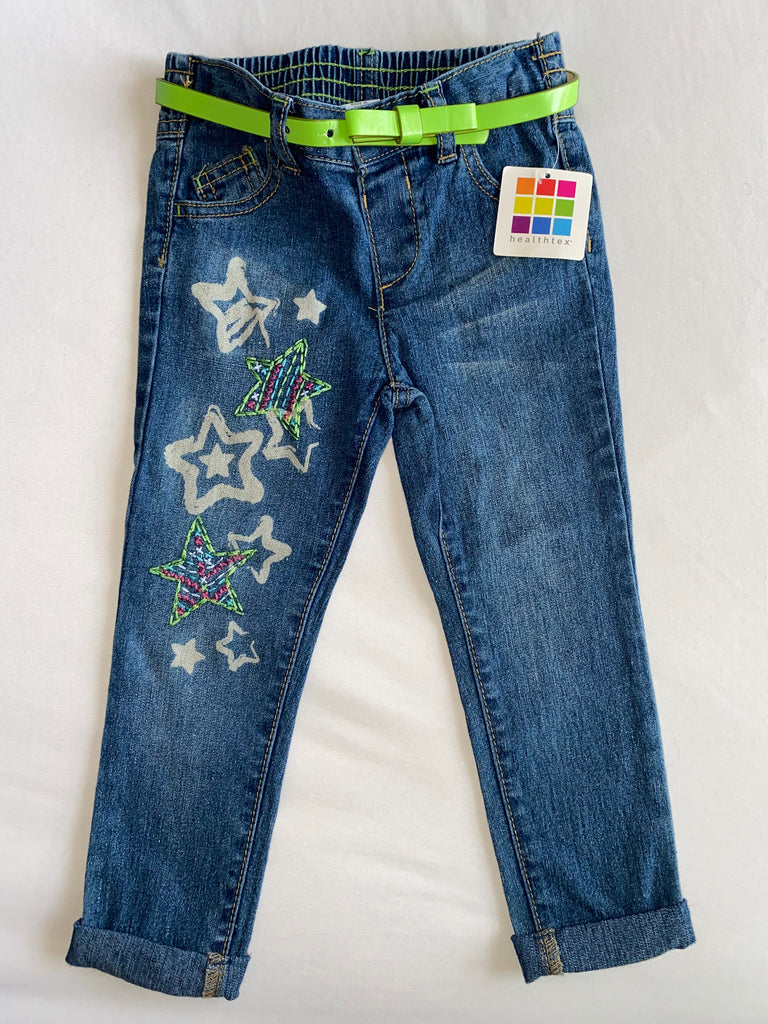 Infant Girls Denim Long Pants (with belt) - 22% Cotton, 16% Poly, 2% Spandex: Size 24 M