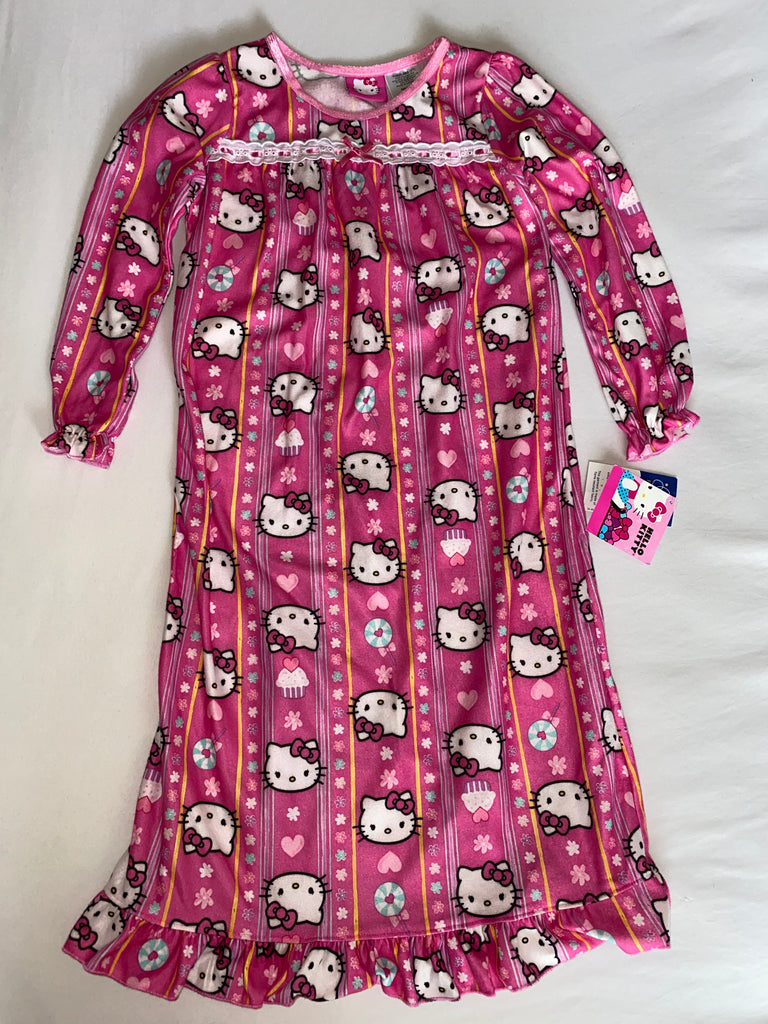 Girls Hello Kitty Long Sleeve Flame Resistant Sleepwear Gown - Size: 5T