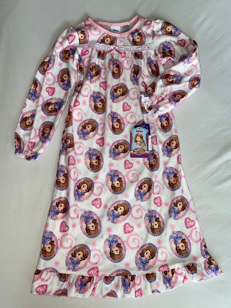 Girls Sofia The First Long Sleeve Flame Resistant Sleepwear Gown -  Size 4-5