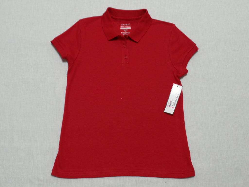 Girls School Uniform Red Polo Shirt - 60% Cotton, 40% Polyester: Size XXL/18
