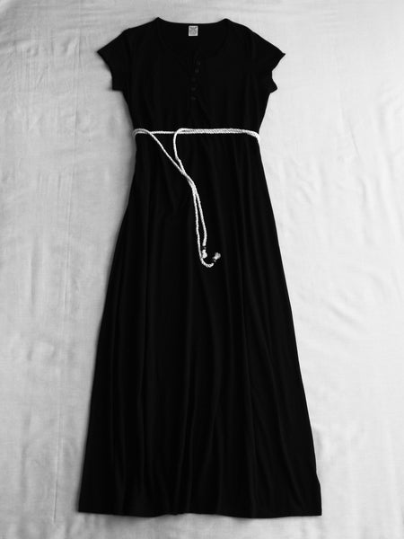 Black Maxi Dress with Rope Belt  - 60% Cotton, 40% Polyester Sizes - L, XL, XXL