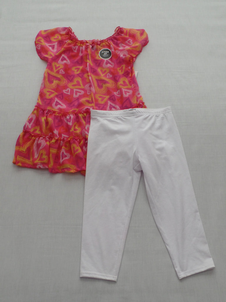 Girls Heart Chiffon 2 Piece Set - Top 100% Poly, Pants 58% Cotton, 38% Poly, 4% Spandex: Size M 7-8