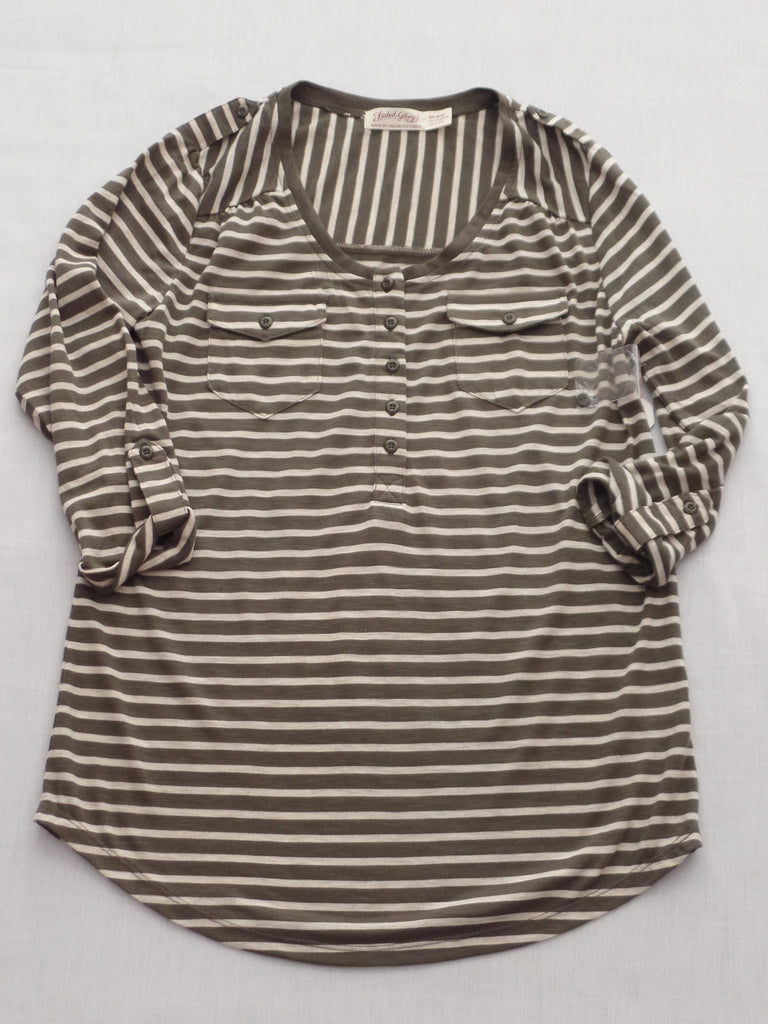 FG Pop Over Henley Strip Top - 65% Polyester, 35% Rayon: Size XS 0-2