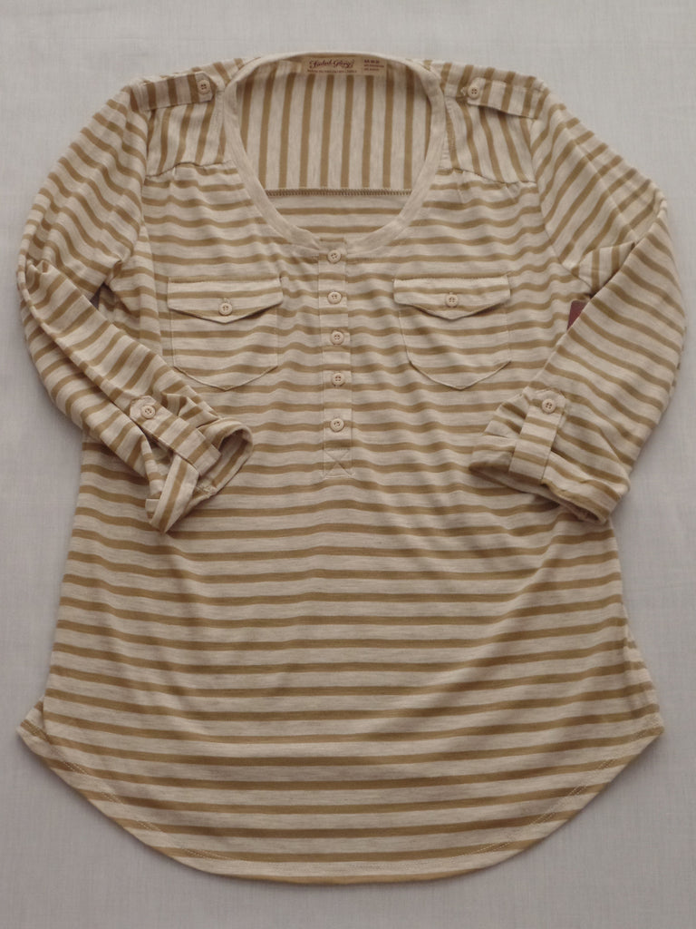 FG Pop Over Henley Strip Top - 65% Polyester, 35% Rayon: Sizes XS, M