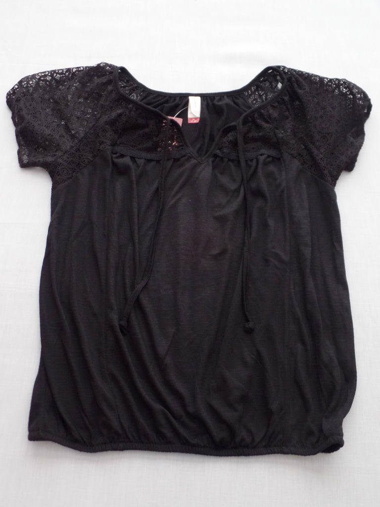 Juniors NB Lace Peasant S/S Top - 100% Polyester: Size M 7-9