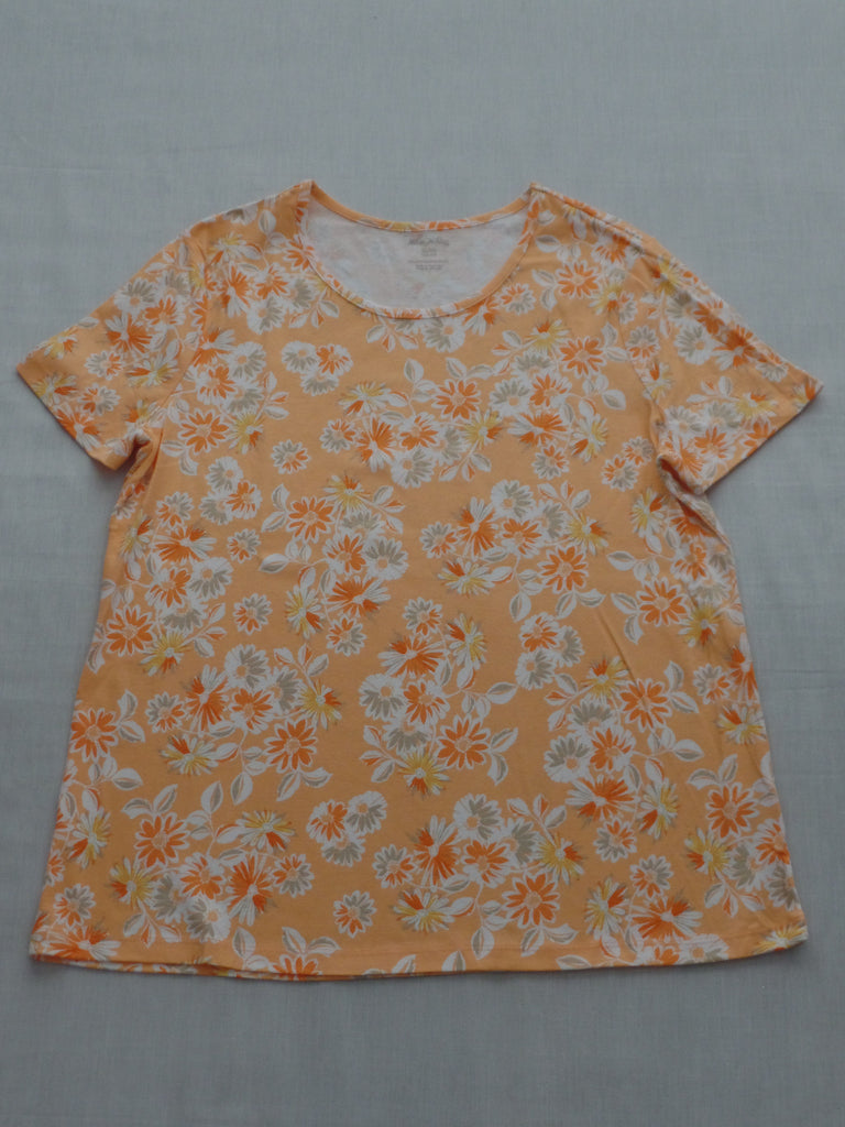 Short Sleeve Peach Floral Scoop Neck Tee - 100% Cotton: Size XL16-18