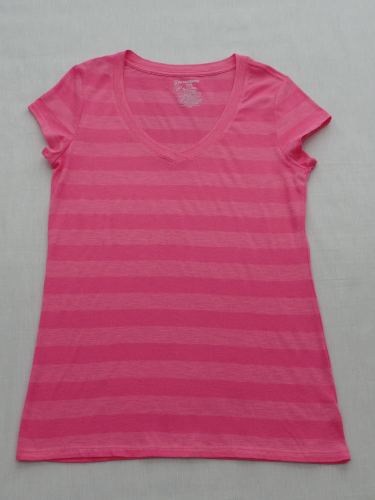 Juniors NB S/S Stripe V-Neck Tee - 80% Cotton, 20% Poly: S, M, XL, XXL