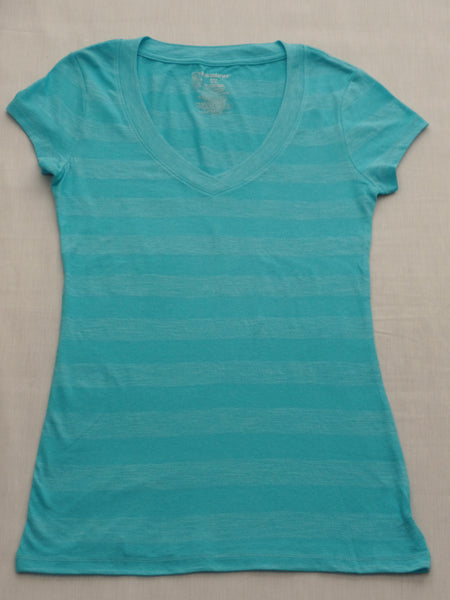 Juniors NB S/S Striped Vneck Tee - 80% Cotton, 20% Polyester: Sizes S, L, XL, XXL