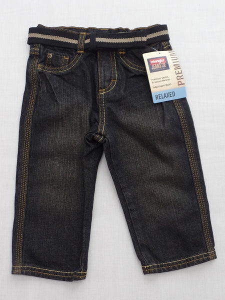 Boy's Wrangler Jeans Premium Denim - (Adjustable Waist) Relaxed Fit with Belt - 12M, 2T, 3T, 4T