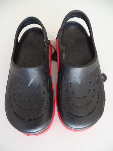 Boy's Black with Red Sole Crocks: Size 3
