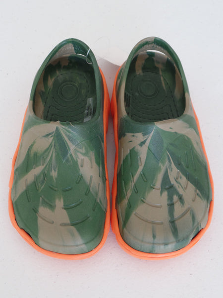 Boy's Army with Orange Sole Crocks: Size 10